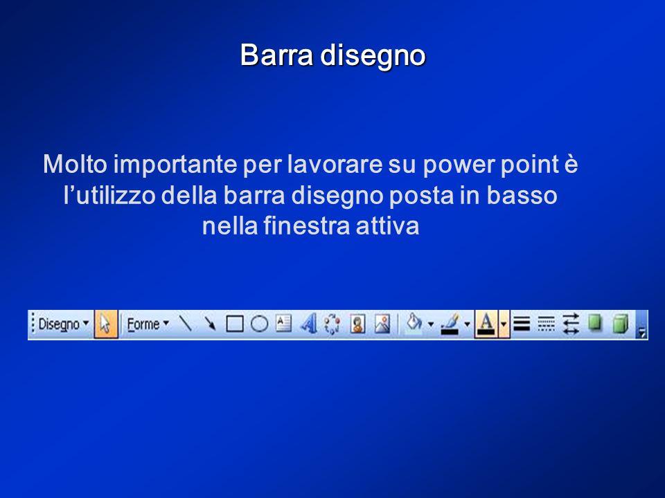 Barra disegno Molto importante per lavorare su power point è l'utilizzo della barra disegno posta in basso nella finestra attiva.