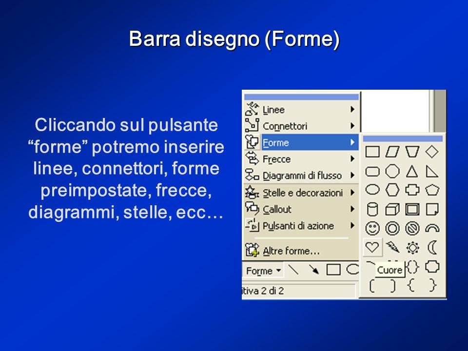 Barra disegno (Forme) Cliccando sul pulsante forme potremo inserire linee, connettori, forme preimpostate, frecce, diagrammi, stelle, ecc…