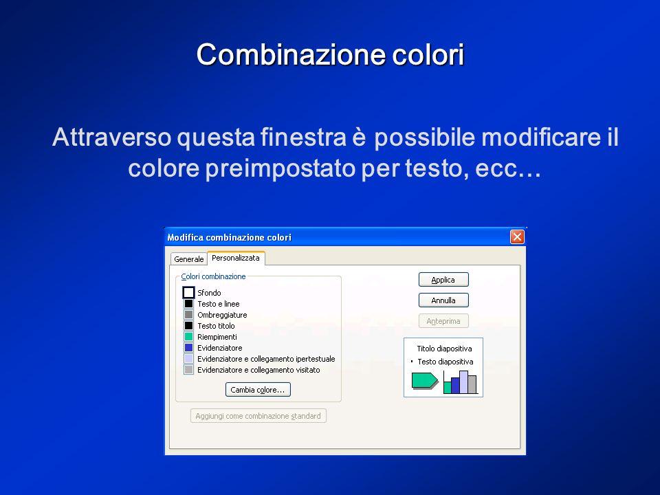Combinazione colori Attraverso questa finestra è possibile modificare il colore preimpostato per testo, ecc…