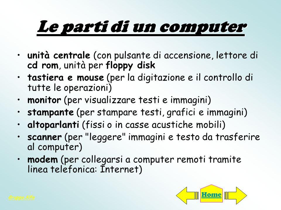 Le parti di un computerunità centrale (con pulsante di accensione, lettore di cd rom, unità per floppy disk.