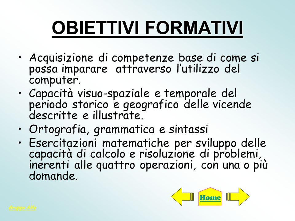 OBIETTIVI FORMATIVI Acquisizione di competenze base di come si possa imparare attraverso l'utilizzo del computer.