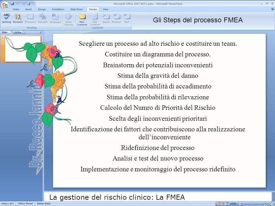Dr. Rocco Iannini Gli Steps del processo FMEA