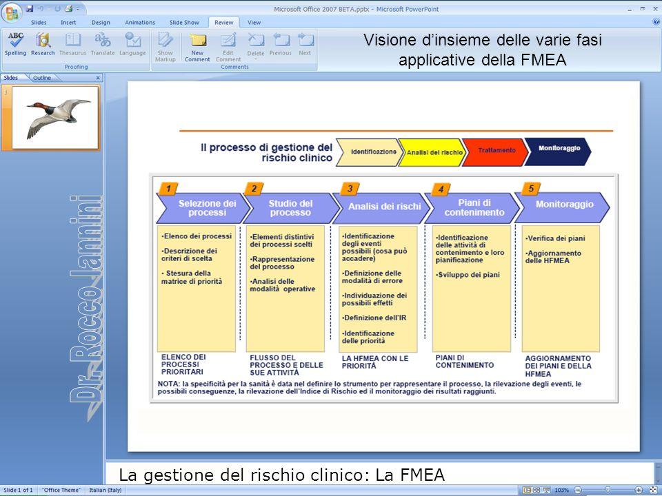 Visione d'insieme delle varie fasi applicative della FMEA