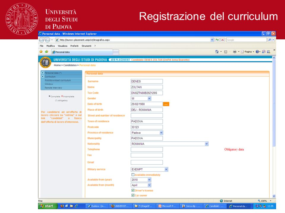 Registrazione del curriculum