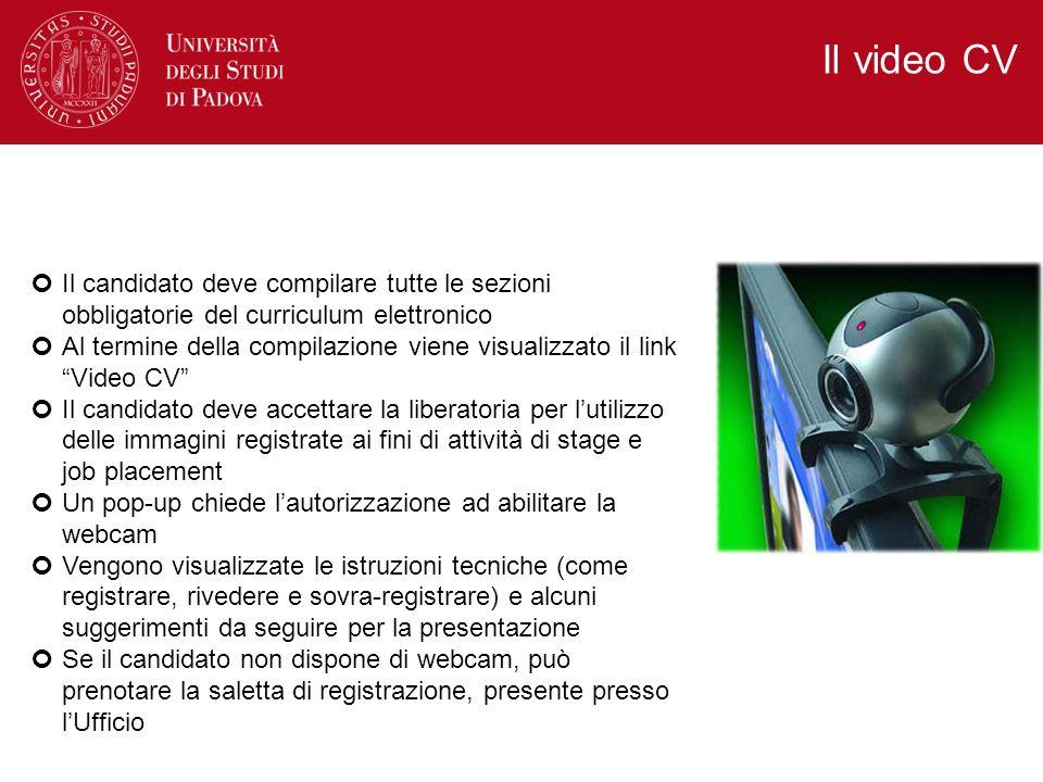 Il video CV Il candidato deve compilare tutte le sezioni obbligatorie del curriculum elettronico.