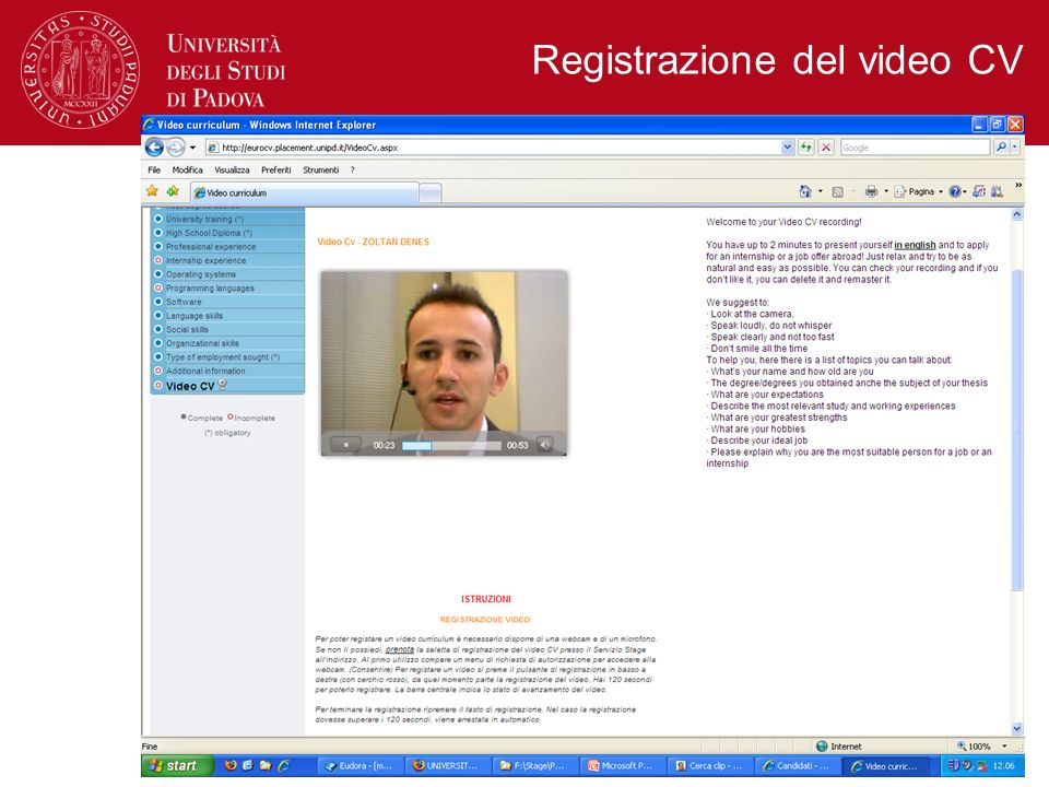 Registrazione del video CV