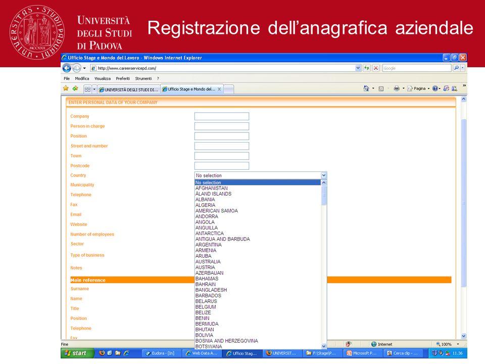 Registrazione dell'anagrafica aziendale