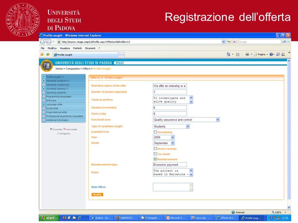 Registrazione dell'offerta