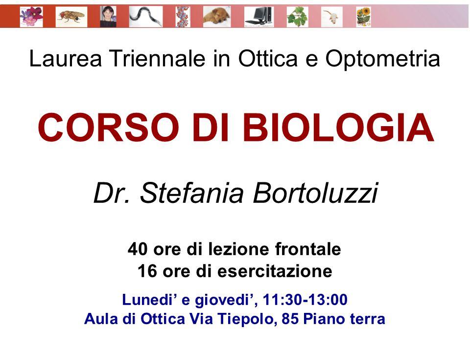 Laurea Triennale in Ottica e Optometria CORSO DI BIOLOGIA Dr