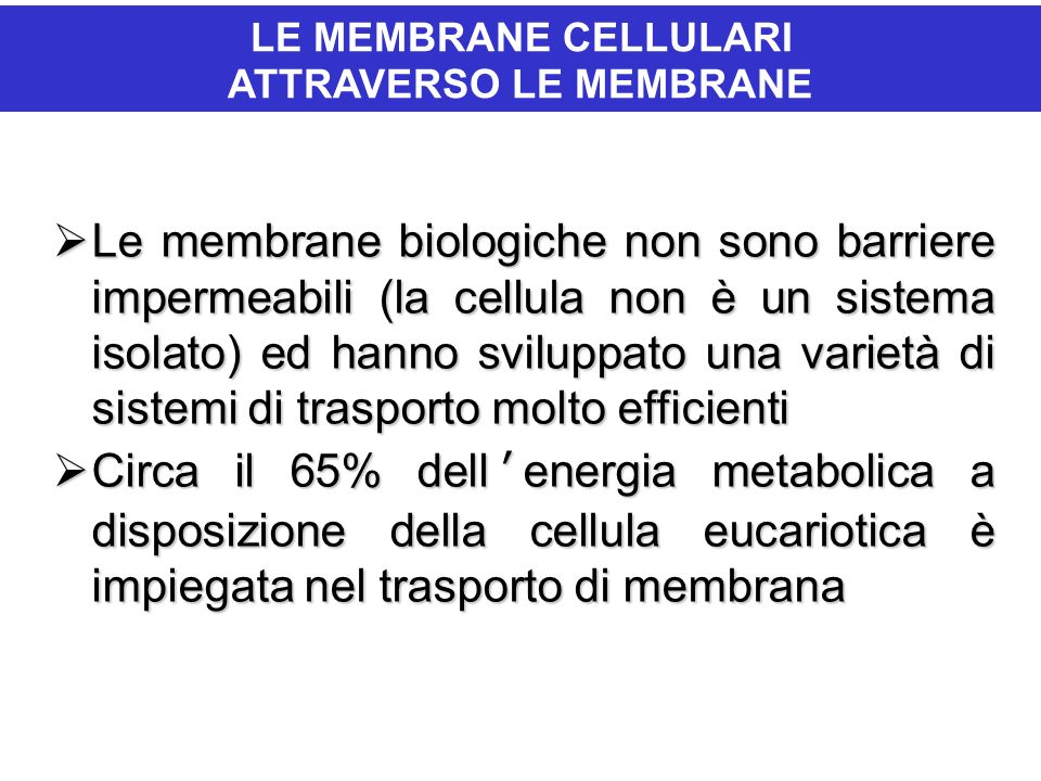 IL PASSAGGIO DI IONI E MOLECOLE ATTRAVERSO LE MEMBRANE