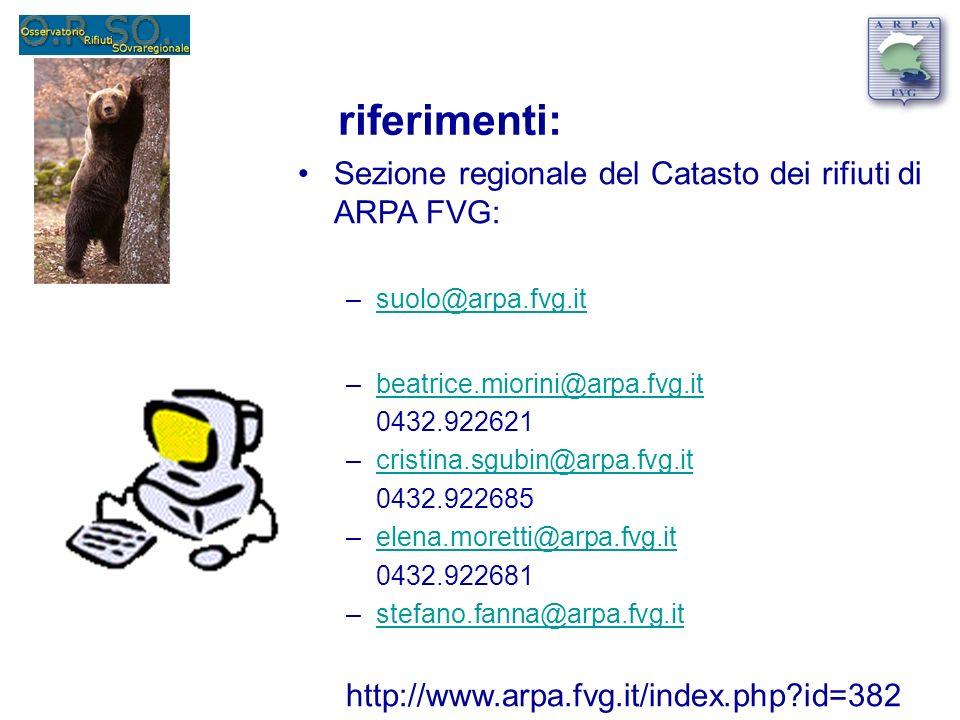 riferimenti: Sezione regionale del Catasto dei rifiuti di ARPA FVG: