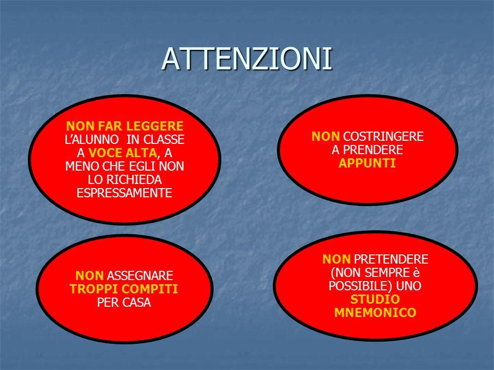 ATTENZIONI NON FAR LEGGERE L'ALUNNO IN CLASSE A VOCE ALTA, A MENO CHE EGLI NON LO RICHIEDA ESPRESSAMENTE.