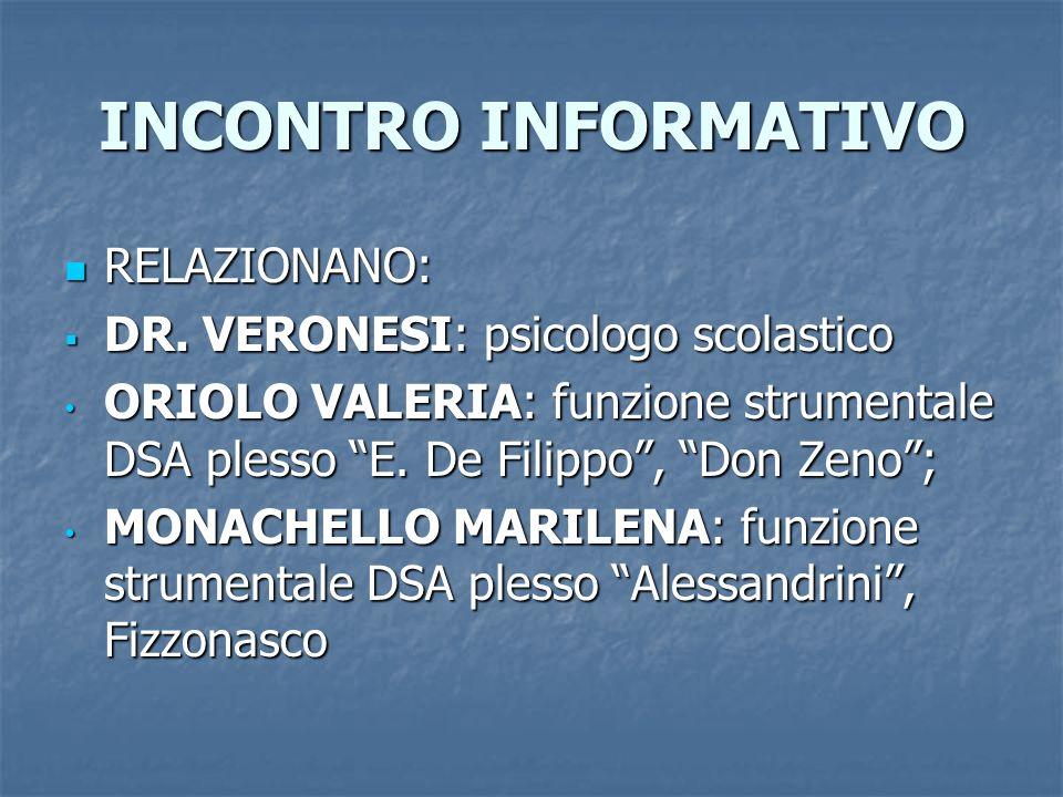 INCONTRO INFORMATIVO RELAZIONANO: DR. VERONESI: psicologo scolastico