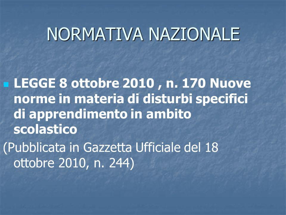 NORMATIVA NAZIONALE LEGGE 8 ottobre 2010 , n. 170 Nuove norme in materia di disturbi specifici di apprendimento in ambito scolastico.