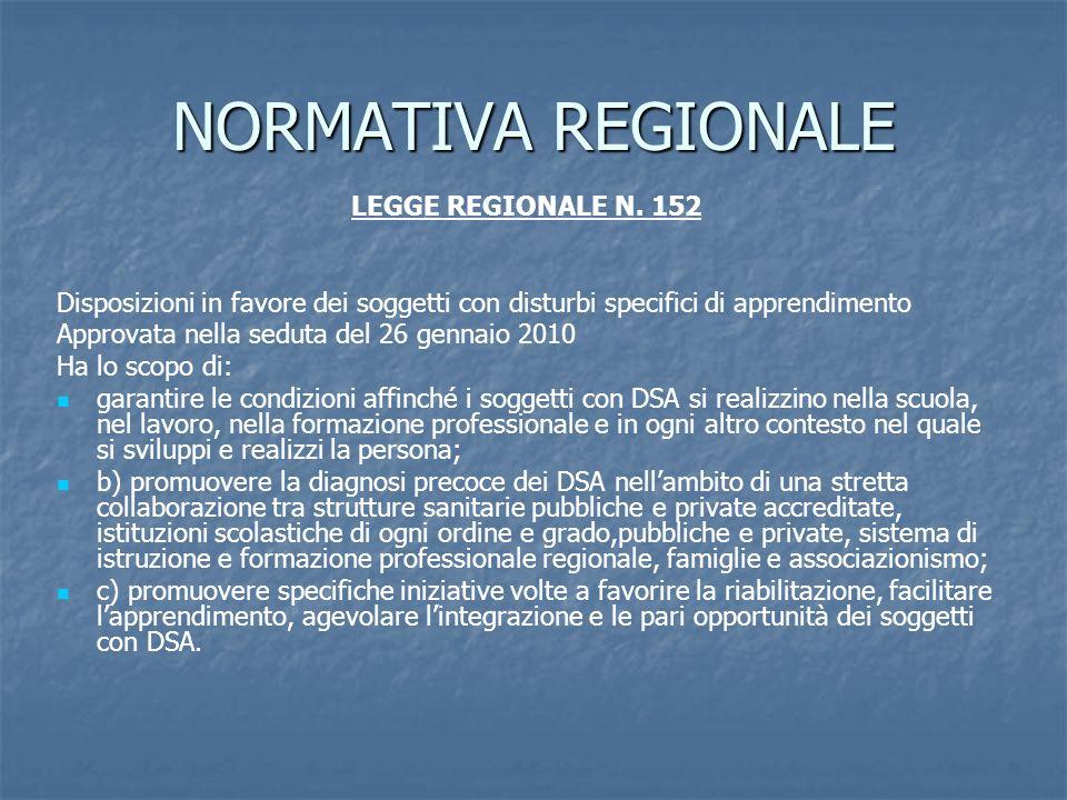 NORMATIVA REGIONALE LEGGE REGIONALE N. 152