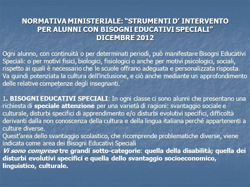 NORMATIVA MINISTERIALE: STRUMENTI D' INTERVENTO PER ALUNNI CON BISOGNI EDUCATIVI SPECIALI DICEMBRE 2012