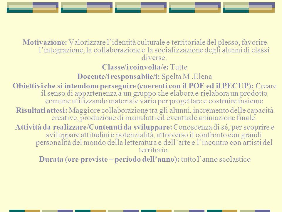 Classe/i coinvolta/e: Tutte Docente/i responsabile/i: Spelta M .Elena