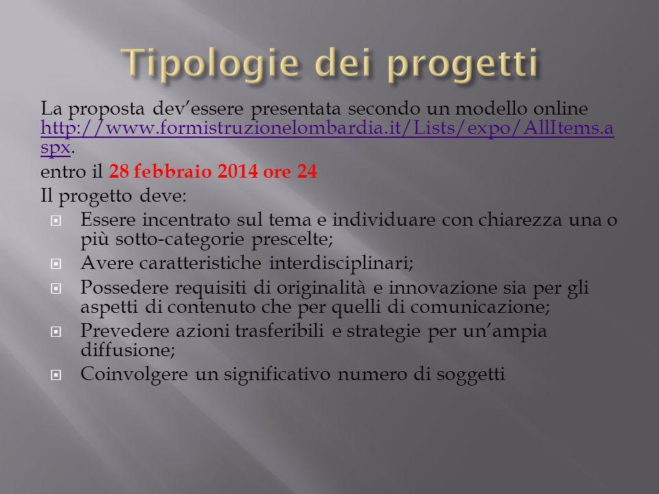 Tipologie dei progetti