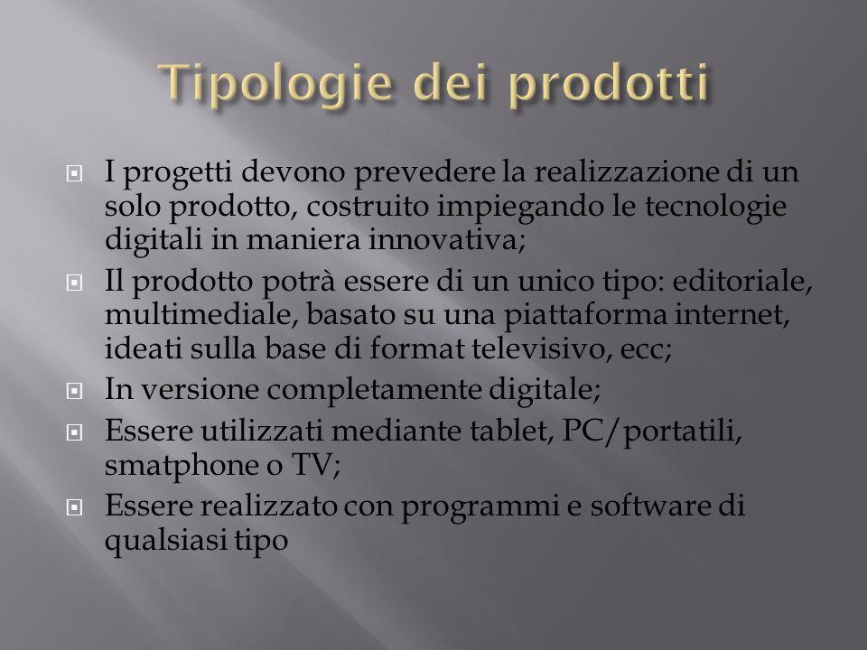 Tipologie dei prodotti