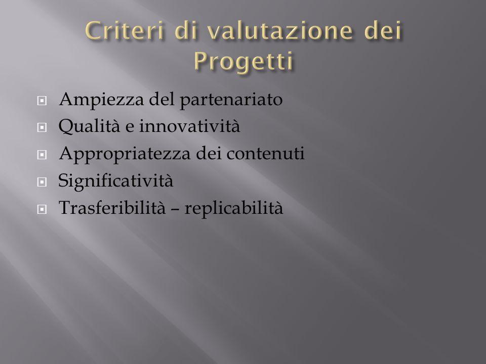 Criteri di valutazione dei Progetti