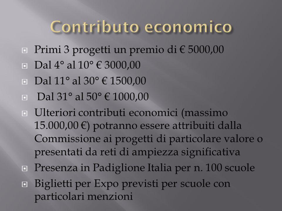 Contributo economico Primi 3 progetti un premio di € 5000,00