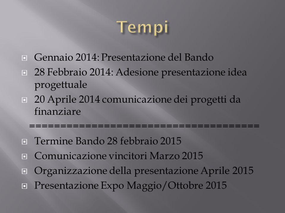 Tempi Gennaio 2014: Presentazione del Bando