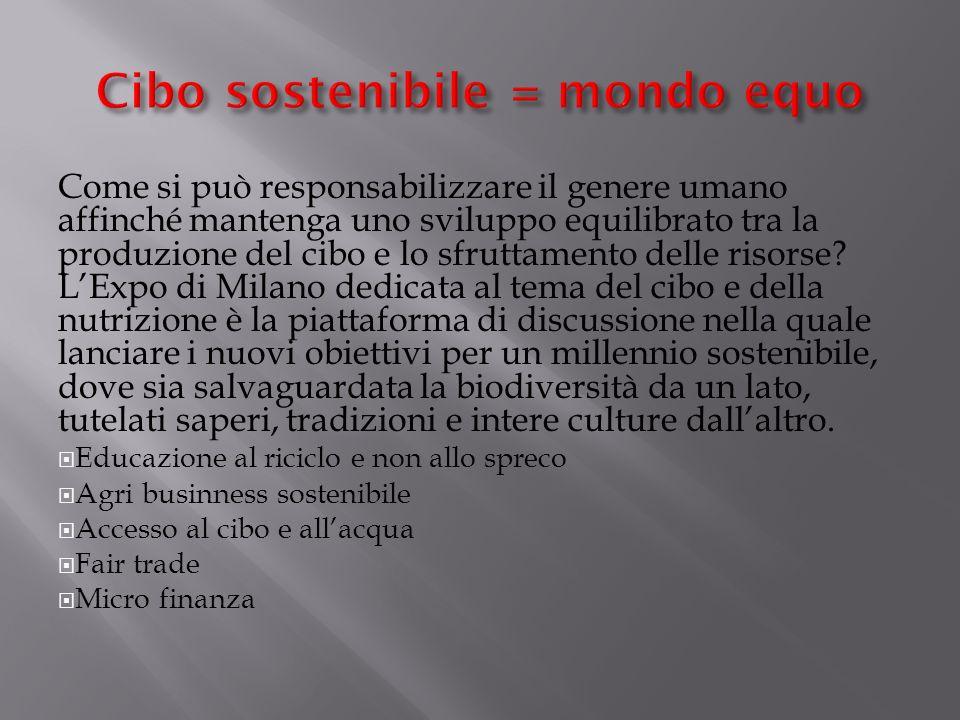 Cibo sostenibile = mondo equo