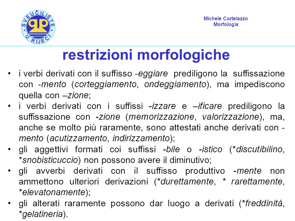 restrizioni morfologiche