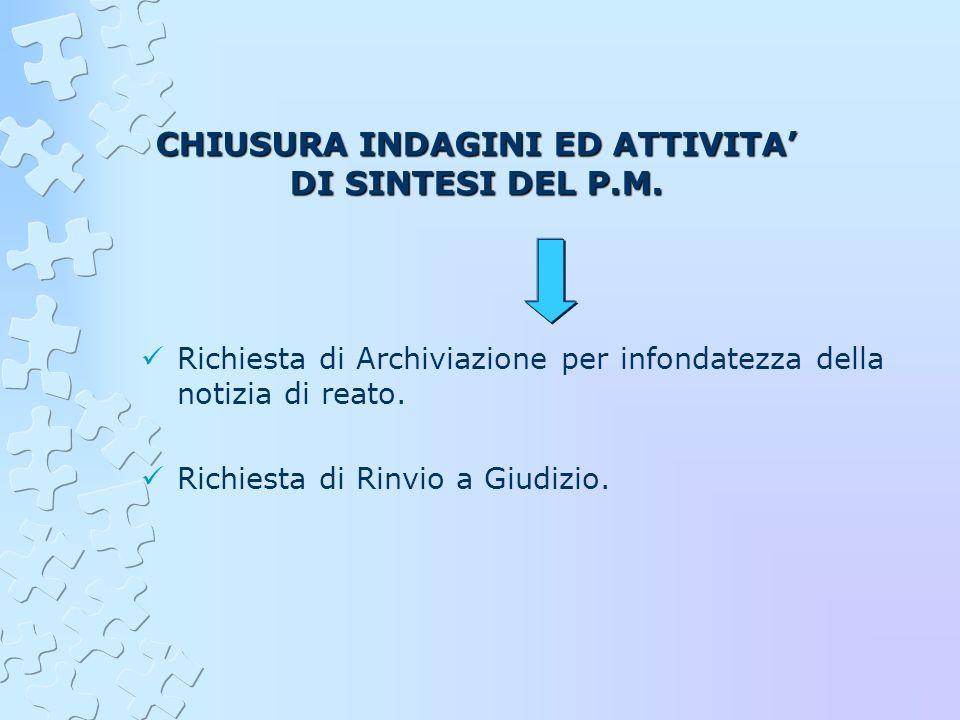 CHIUSURA INDAGINI ED ATTIVITA' DI SINTESI DEL P.M.