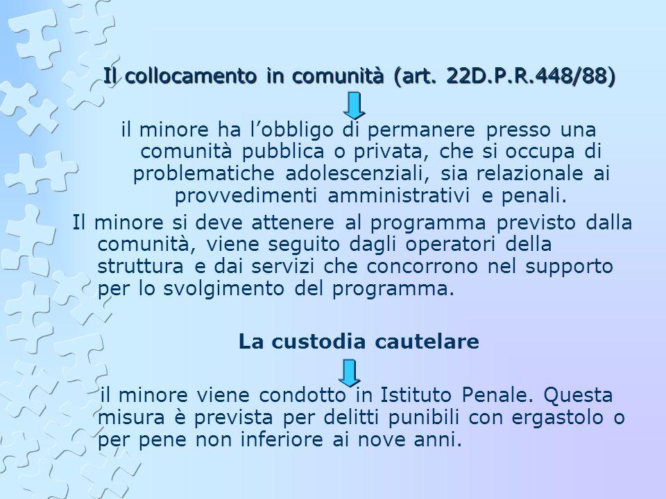 Il collocamento in comunità (art. 22D.P.R.448/88)
