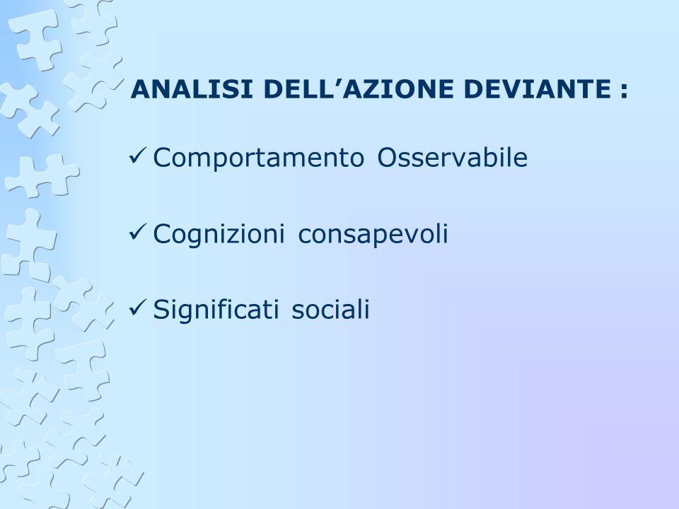 ANALISI DELL'AZIONE DEVIANTE :