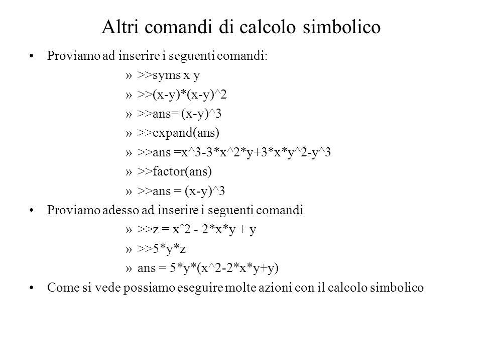 Altri comandi di calcolo simbolico