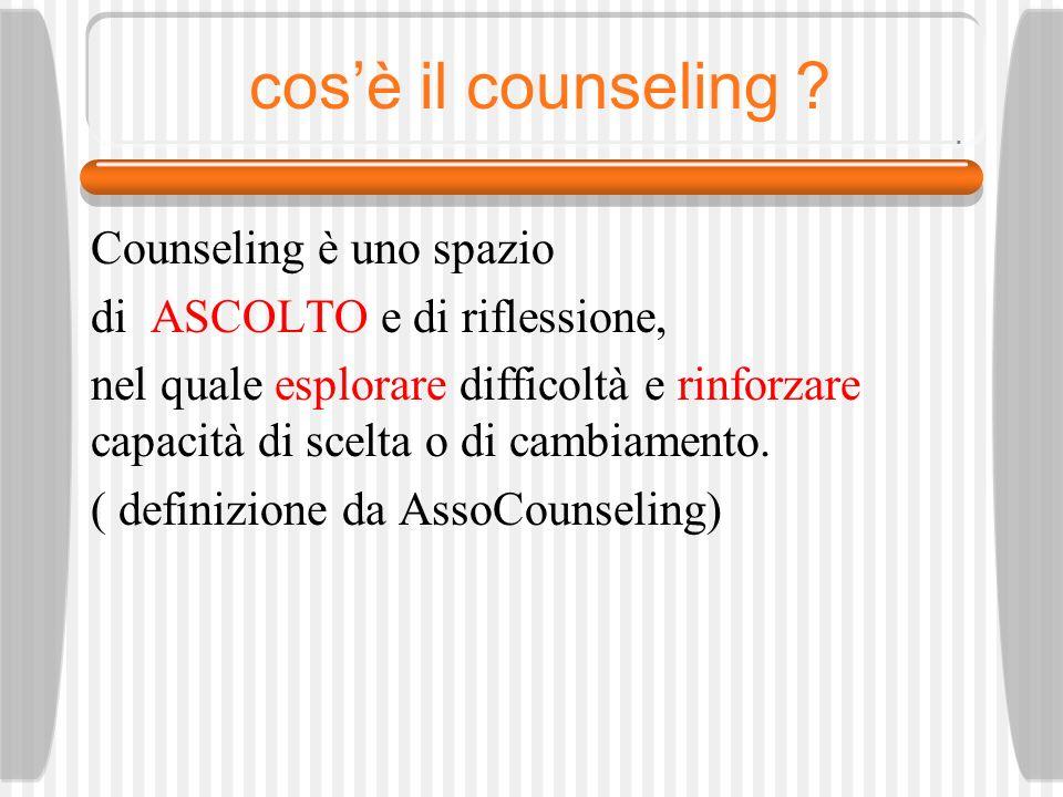 cos'è il counseling Counseling è uno spazio