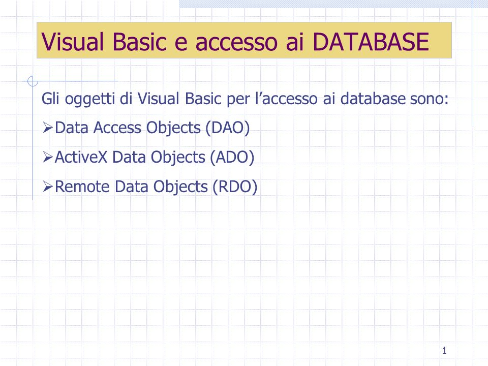 Visual Basic e accesso ai DATABASE