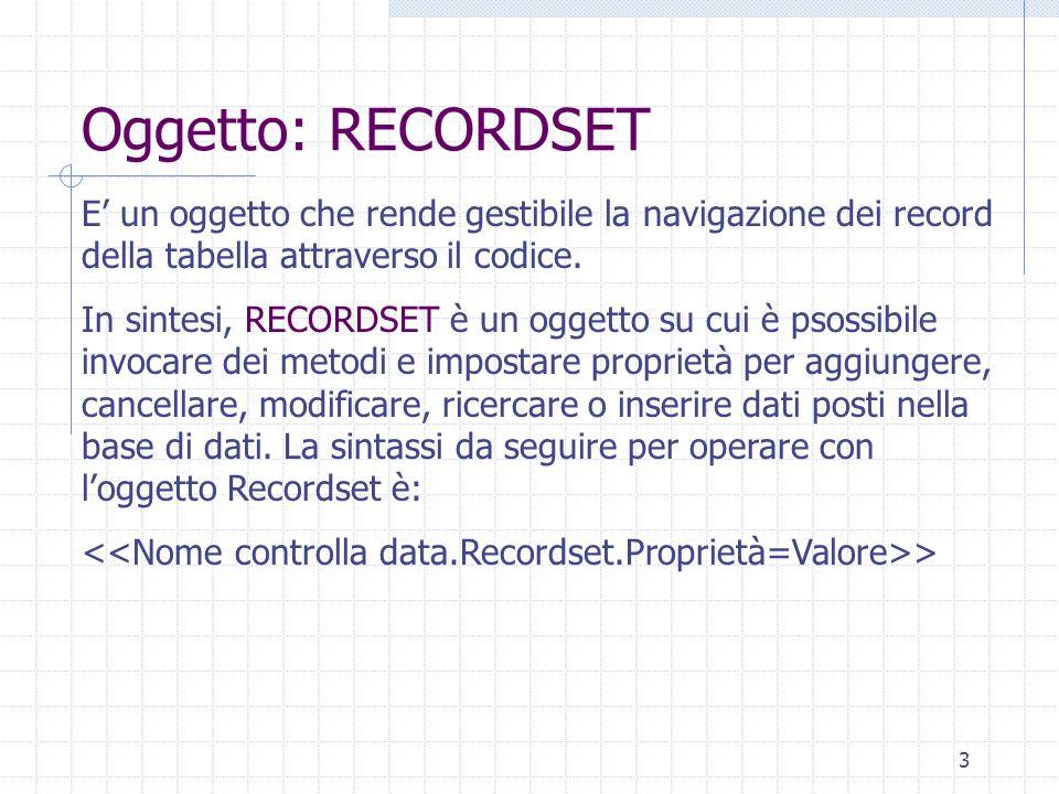 Oggetto: RECORDSET E' un oggetto che rende gestibile la navigazione dei record della tabella attraverso il codice.
