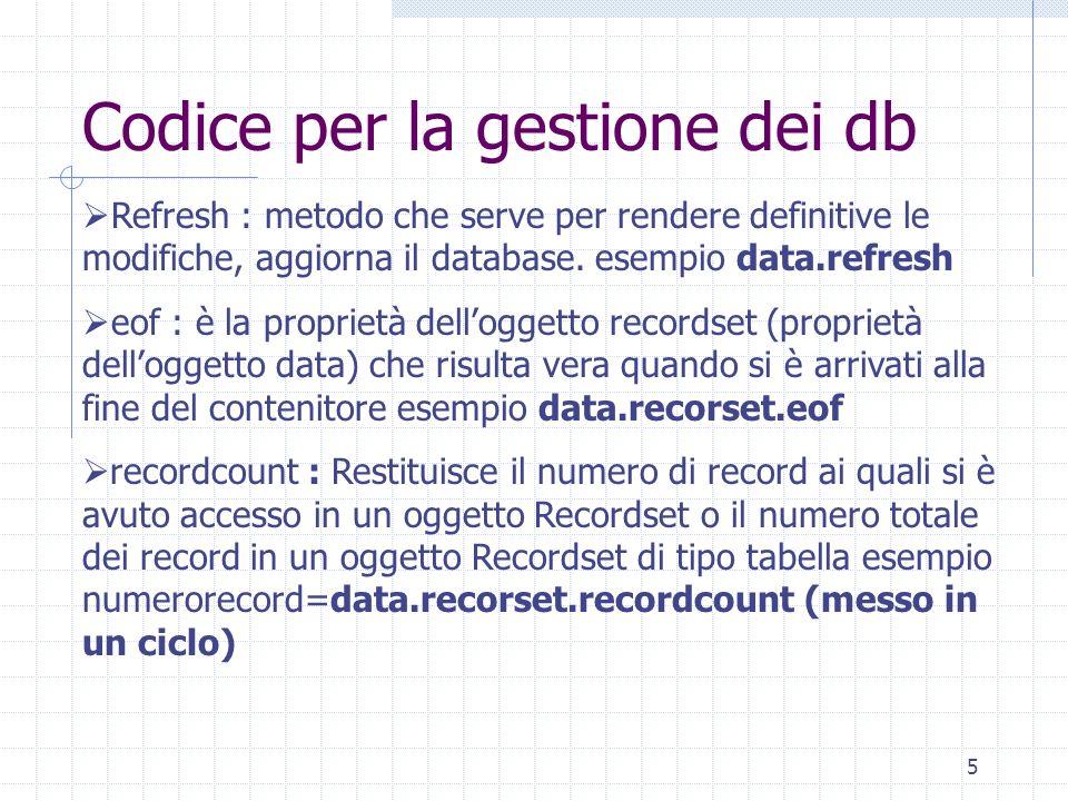 Codice per la gestione dei db