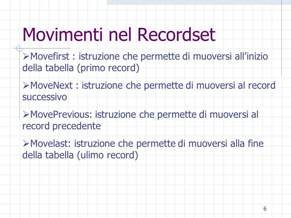 Movimenti nel Recordset