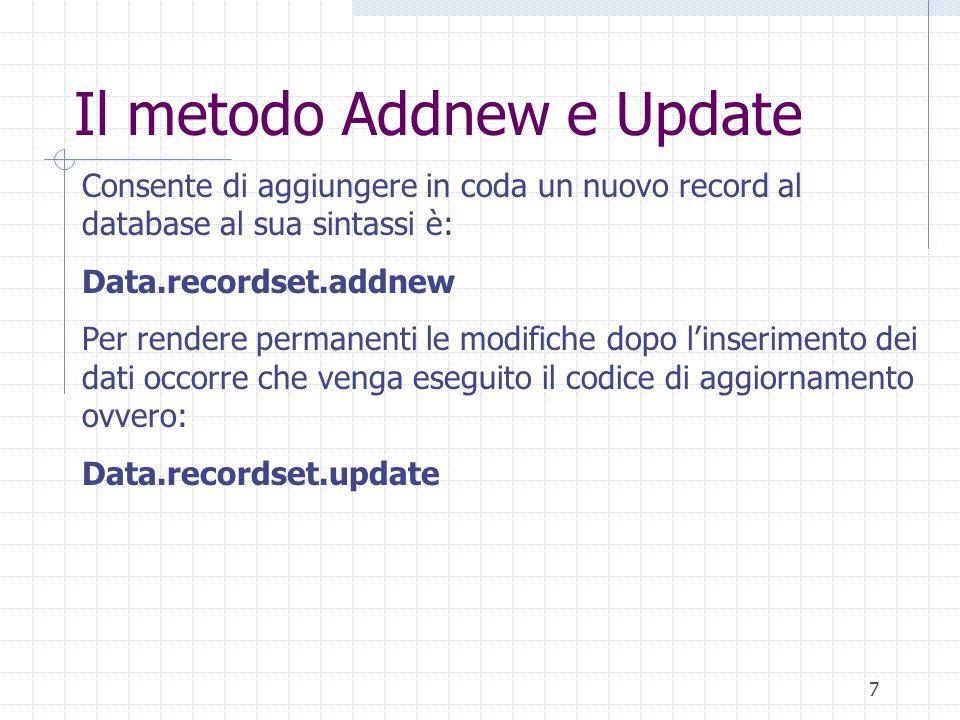 Il metodo Addnew e Update