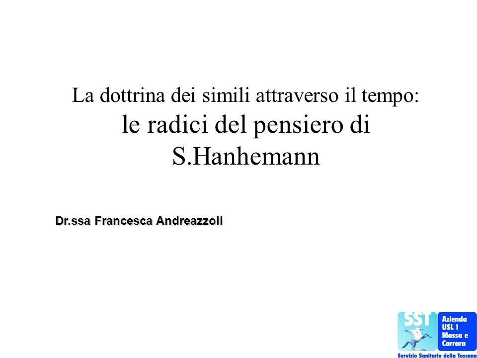 La dottrina dei simili attraverso il tempo: le radici del pensiero di S.Hanhemann