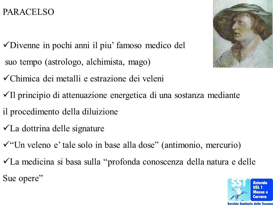 PARACELSO Divenne in pochi anni il piu' famoso medico del. suo tempo (astrologo, alchimista, mago)
