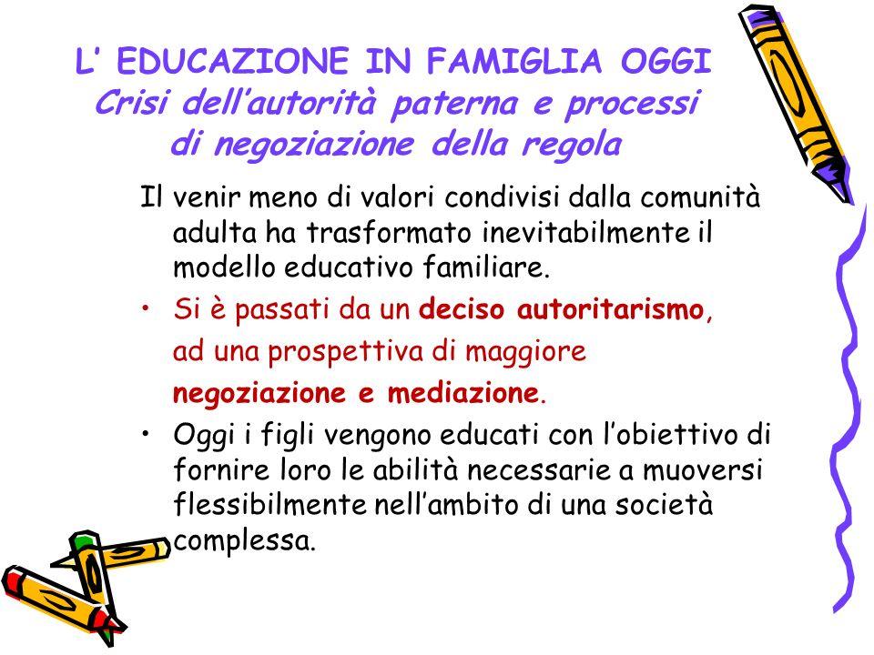 L' EDUCAZIONE IN FAMIGLIA OGGI Crisi dell'autorità paterna e processi di negoziazione della regola