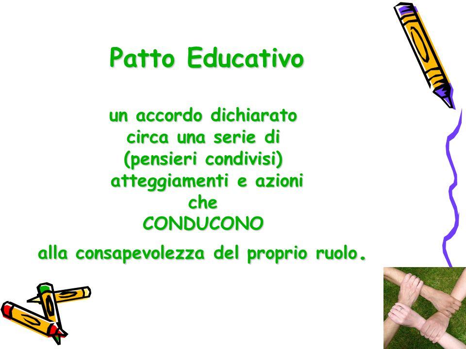 Patto Educativo un accordo dichiarato circa una serie di (pensieri condivisi) atteggiamenti e azioni che CONDUCONO alla consapevolezza del proprio ruolo.