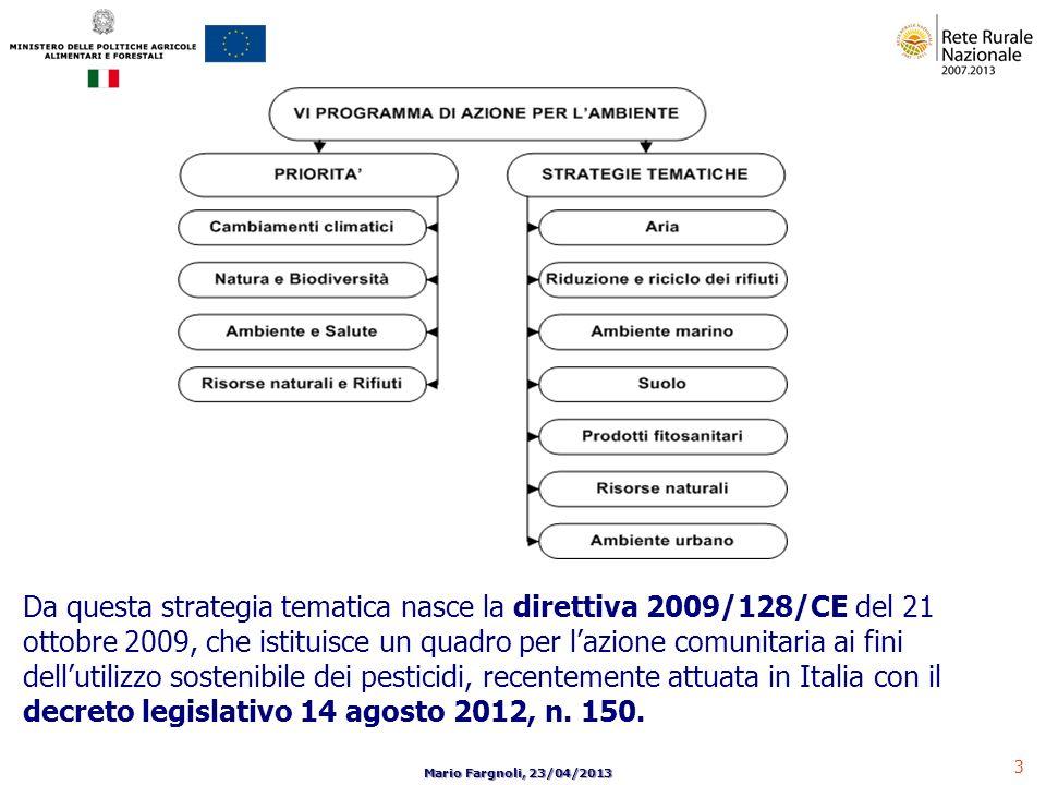 Da questa strategia tematica nasce la direttiva 2009/128/CE del 21 ottobre 2009, che istituisce un quadro per l'azione comunitaria ai fini dell'utilizzo sostenibile dei pesticidi, recentemente attuata in Italia con il decreto legislativo 14 agosto 2012, n.