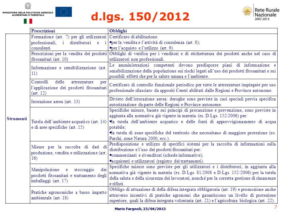 d.lgs. 150/2012 Prescrizioni Obblighi Strumenti