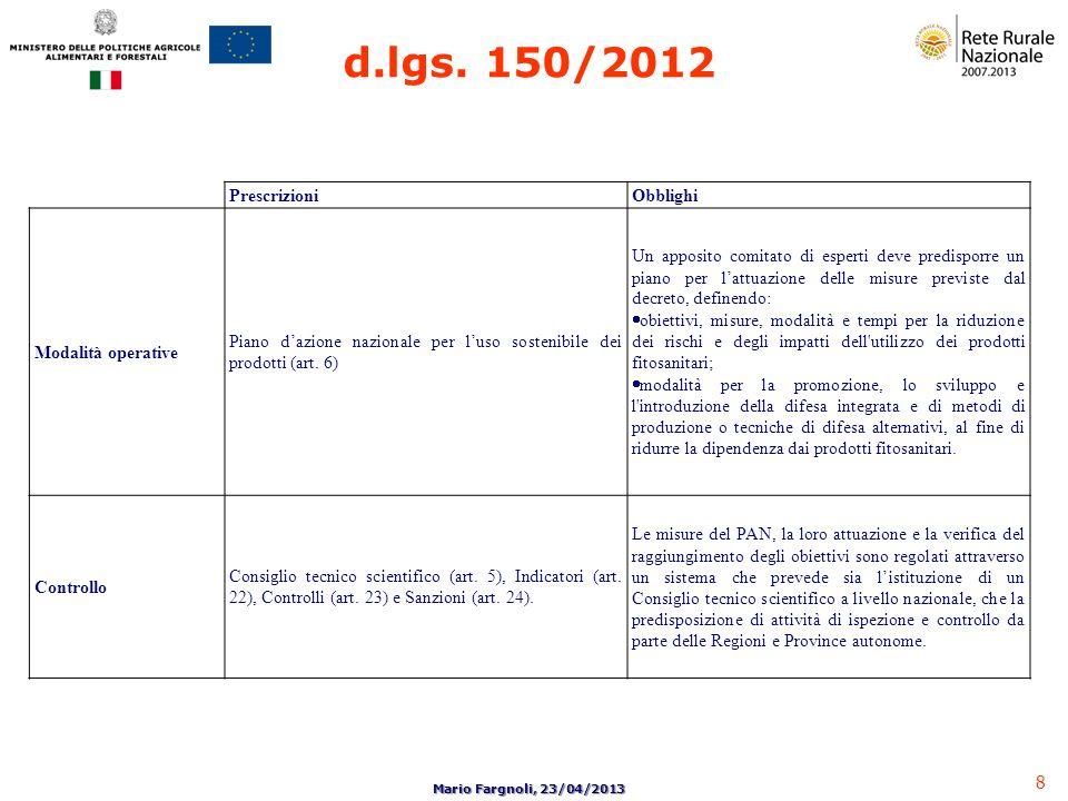 d.lgs. 150/2012 Prescrizioni Obblighi Modalità operative
