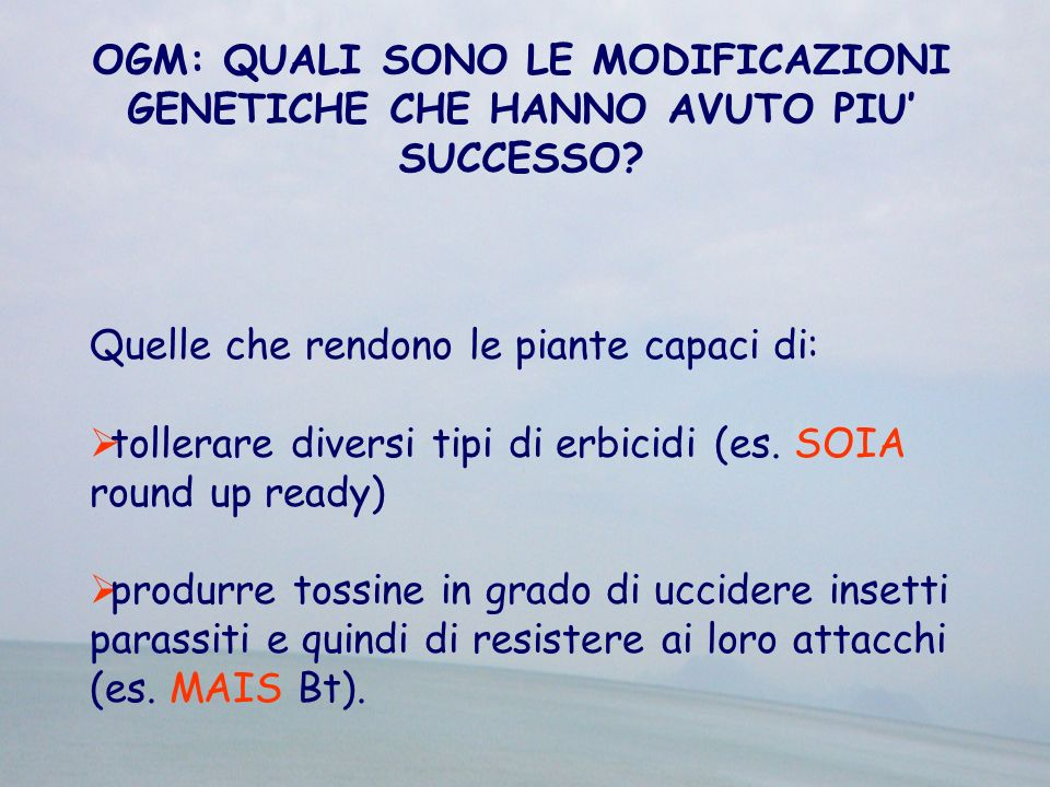 OGM: QUALI SONO LE MODIFICAZIONI GENETICHE CHE HANNO AVUTO PIU' SUCCESSO