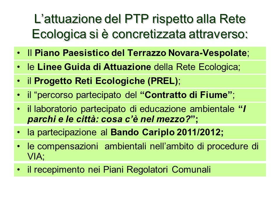 L'attuazione del PTP rispetto alla Rete Ecologica si è concretizzata attraverso: