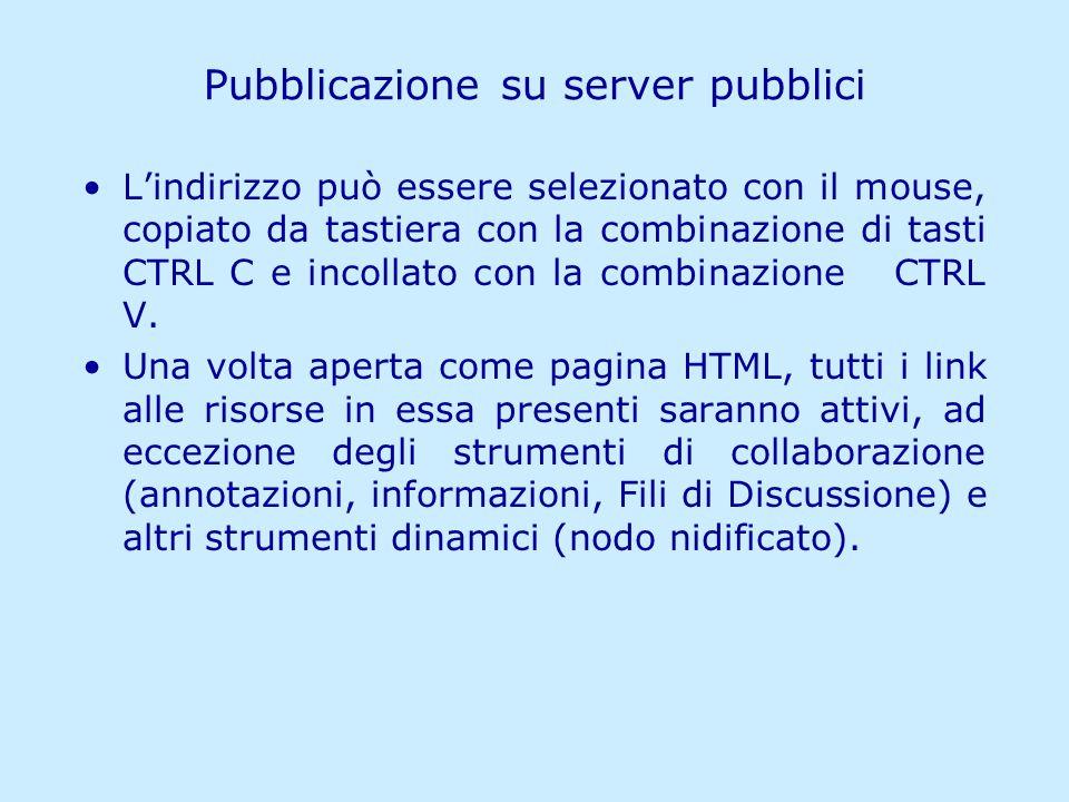 Pubblicazione su server pubblici