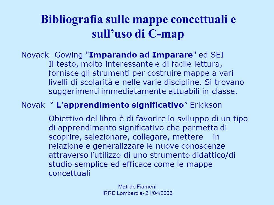 Bibliografia sulle mappe concettuali e sull'uso di C-map