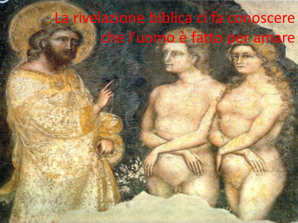 La rivelazione biblica ci fa conoscere che l'uomo è fatto per amare